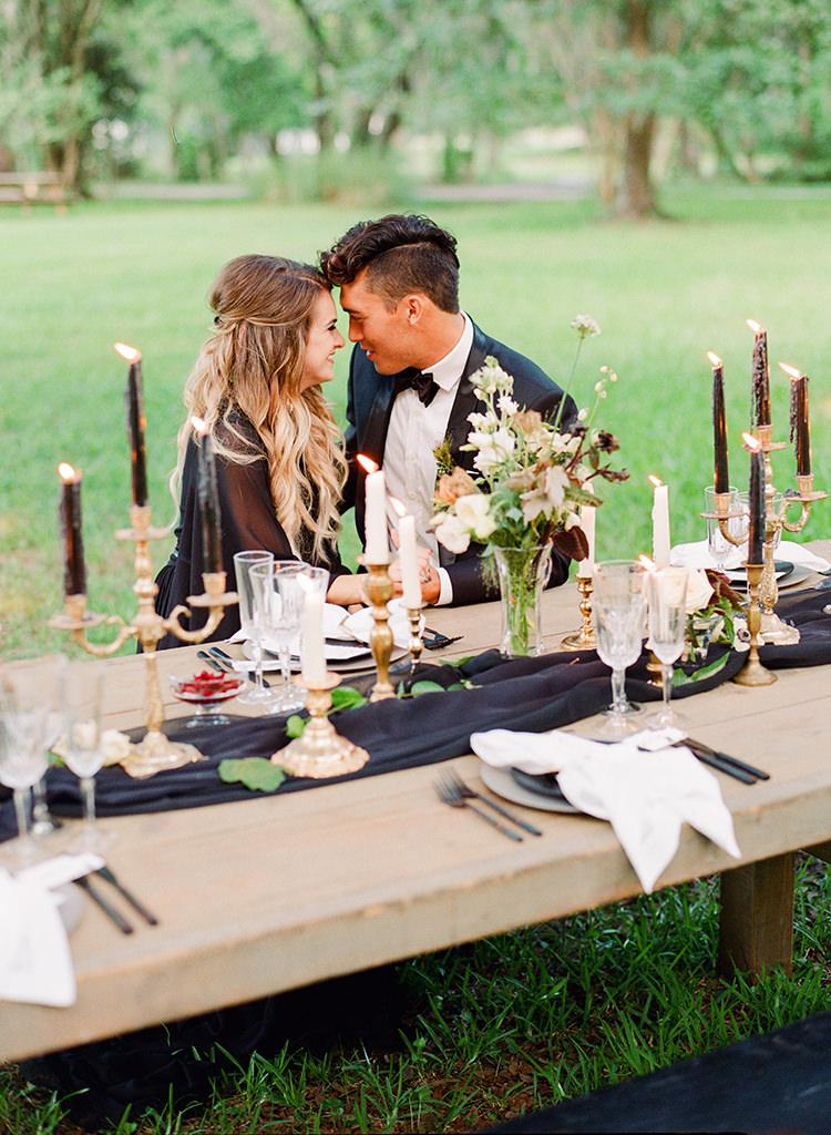 candlelit plantation wedding inspiration - http://ruffledblog.com/dark-and-stormy-magnolia-plantation-wedding-inspiration