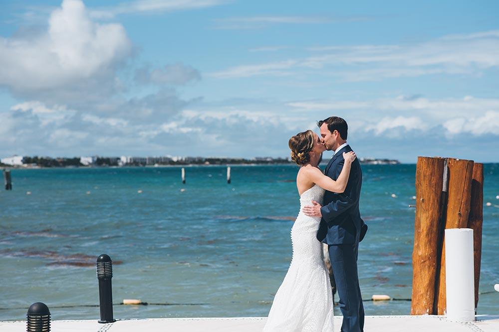 beach wedding first look