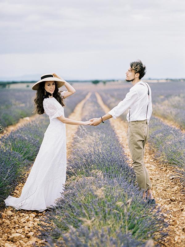 Destination Elopement in a Spanish Lavender Field - https://ruffledblog.com/destination-elopement-in-a-spanish-lavender-field