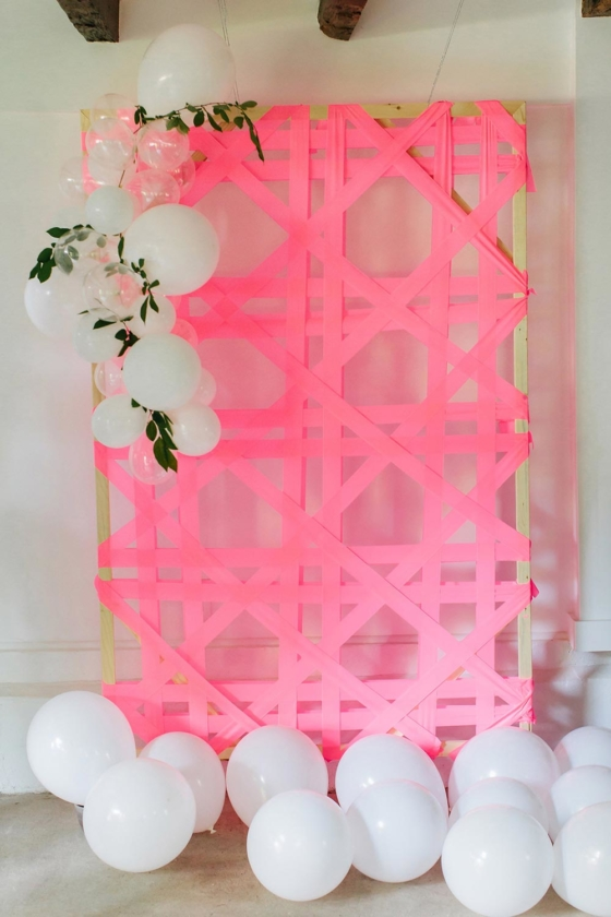 DIY Cane Weave Backdrop with Easy Balloon Garland