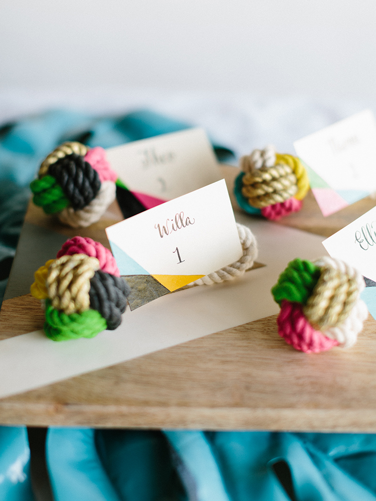 DIY Painted Knot Place Cards - photo by Josh Deaton http://ruffledblog.com/diy-painted-knot-place-cards