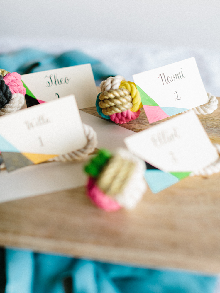 DIY Painted Knot Place Cards - photo by Josh Deaton http://ruffledblog.com/diy-painted-knot-place-cards Styling Kathryn Godwin of Studio Cultivate