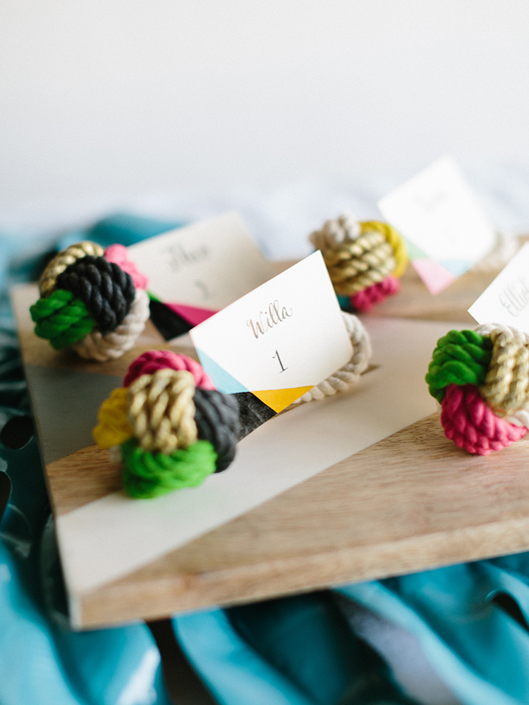 DIY Painted Knot Place Cards - photo by Josh Deaton https://ruffledblog.com/diy-painted-knot-place-cards Styling Kathryn Godwin of Studio Cultivate