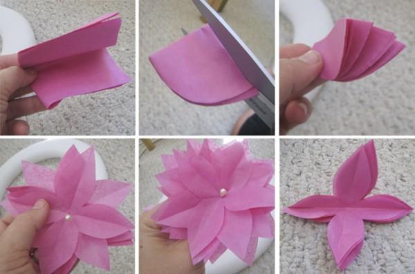 Простые цветы из белой бумаги своими руками 46
