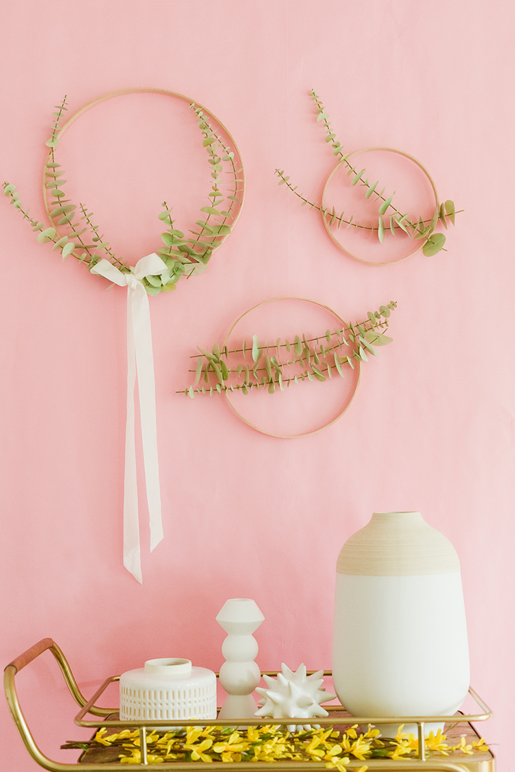 DIY Paper Eucalyptus and wood table numbers with free printables