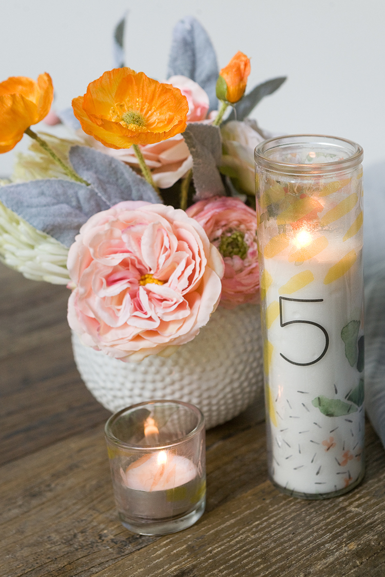 Dollar store candle table numbers
