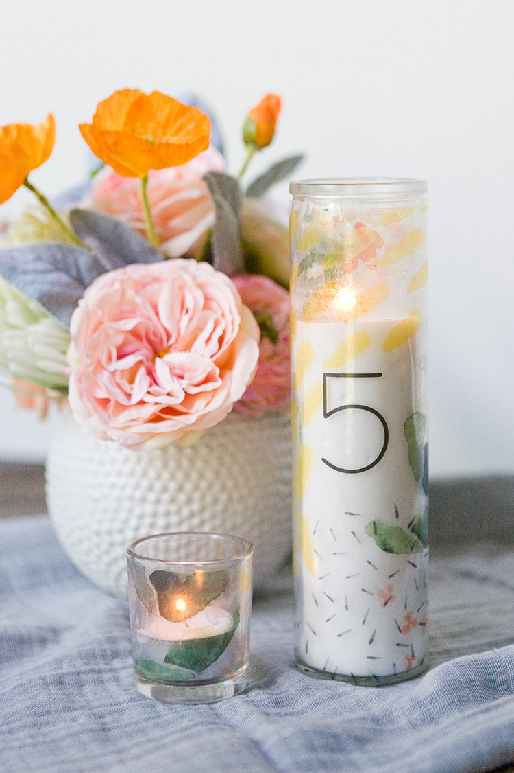 Dollar Store Candle Hack with free printables