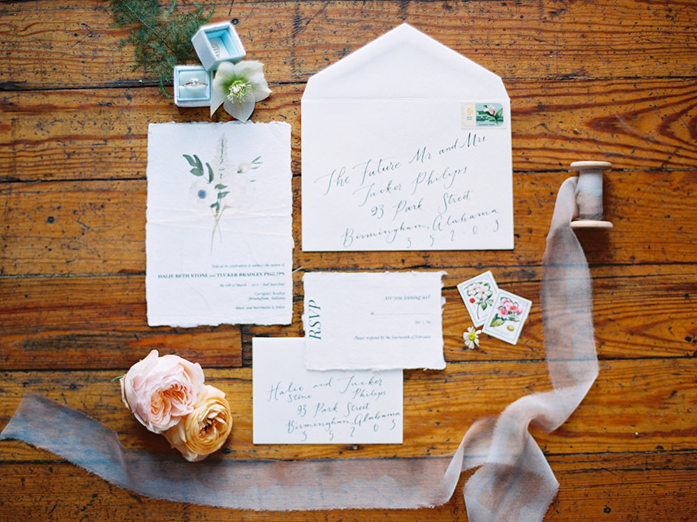 wedding stationery - photo by Photos by Heart http://ruffledblog.com/downtown-birmingham-spring-wedding-inspiration