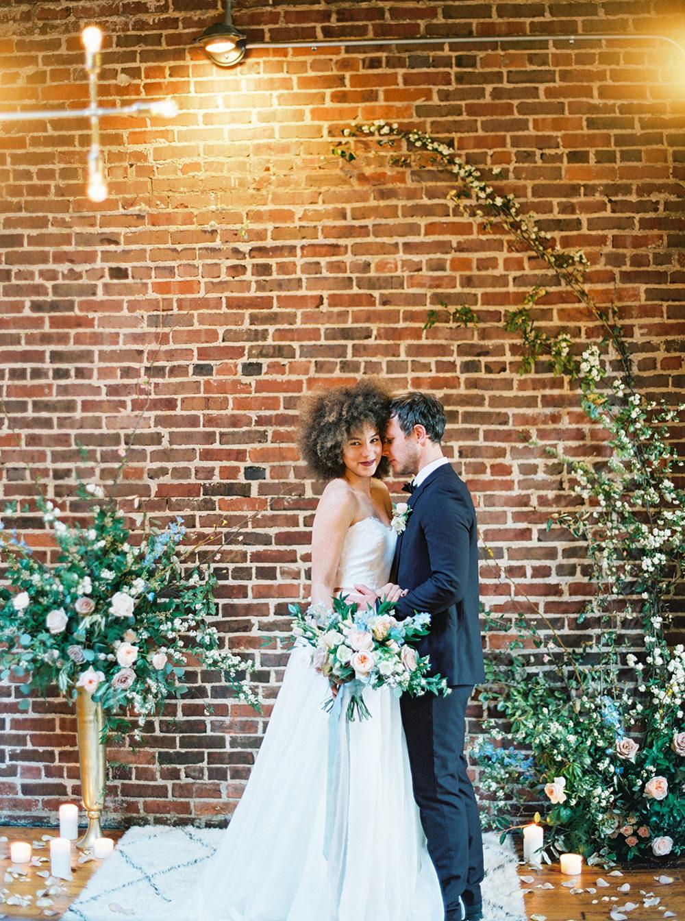 industrial wedding inspiration - photo by Photos by Heart http://ruffledblog.com/downtown-birmingham-spring-wedding-inspiration