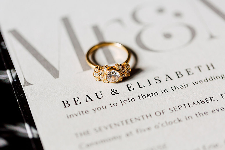 unique antique engagement rings - photo by Purple Tree Photography https://ruffledblog.com/dramatic-moody-wedding-inspiration-for-the-modern-bride