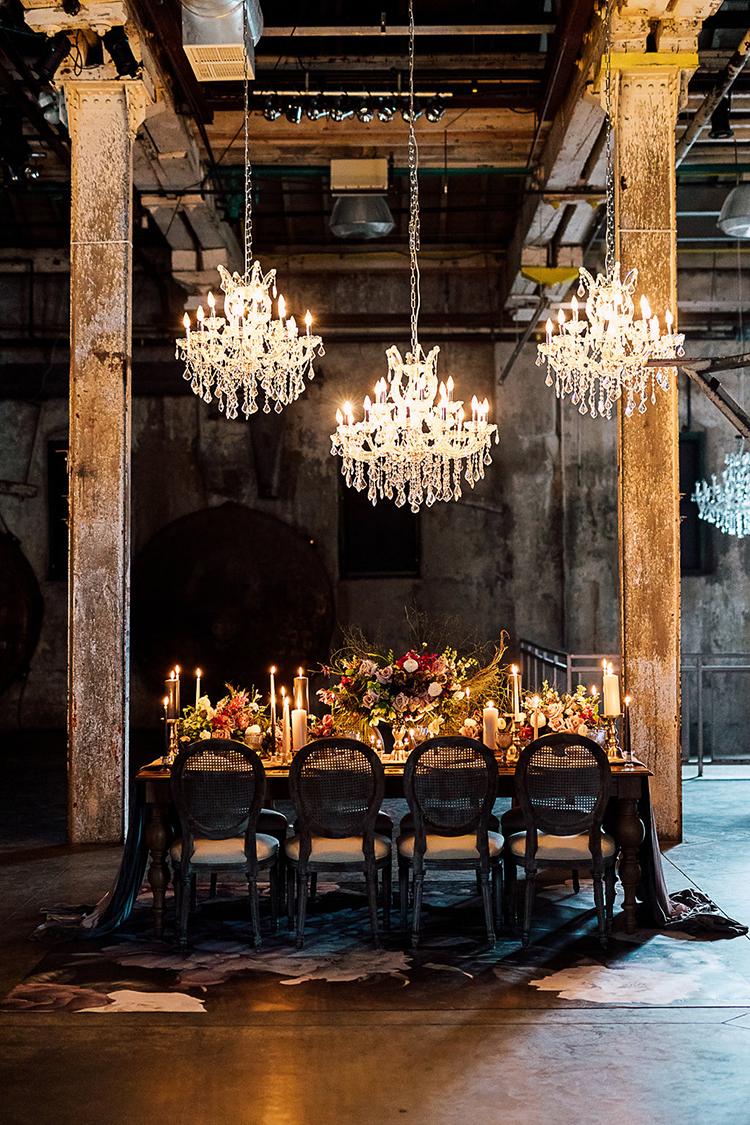 modern industrial wedding receptions - photo by Purple Tree Photography https://ruffledblog.com/dramatic-moody-wedding-inspiration-for-the-modern-bride