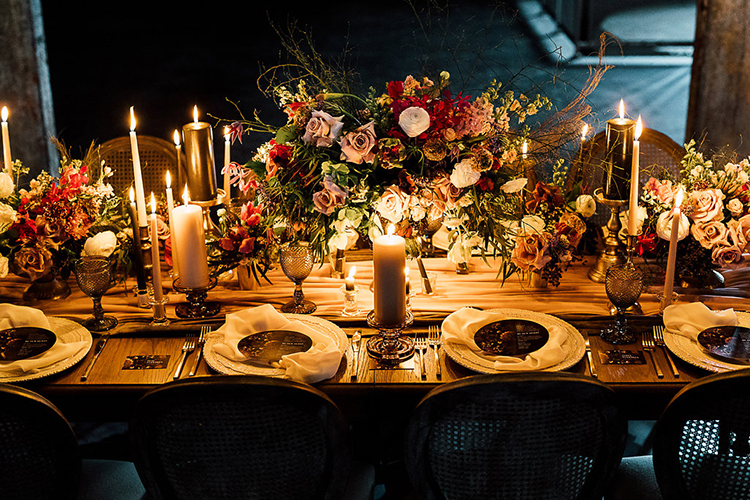 wedding tables - photo by Purple Tree Photography http://ruffledblog.com/dramatic-moody-wedding-inspiration-for-the-modern-bride