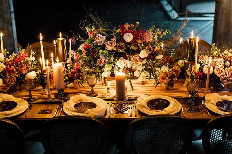 wedding tables - photo by Purple Tree Photography https://ruffledblog.com/dramatic-moody-wedding-inspiration-for-the-modern-bride