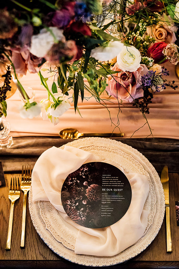 moody place settings - photo by Purple Tree Photography http://ruffledblog.com/dramatic-moody-wedding-inspiration-for-the-modern-bride
