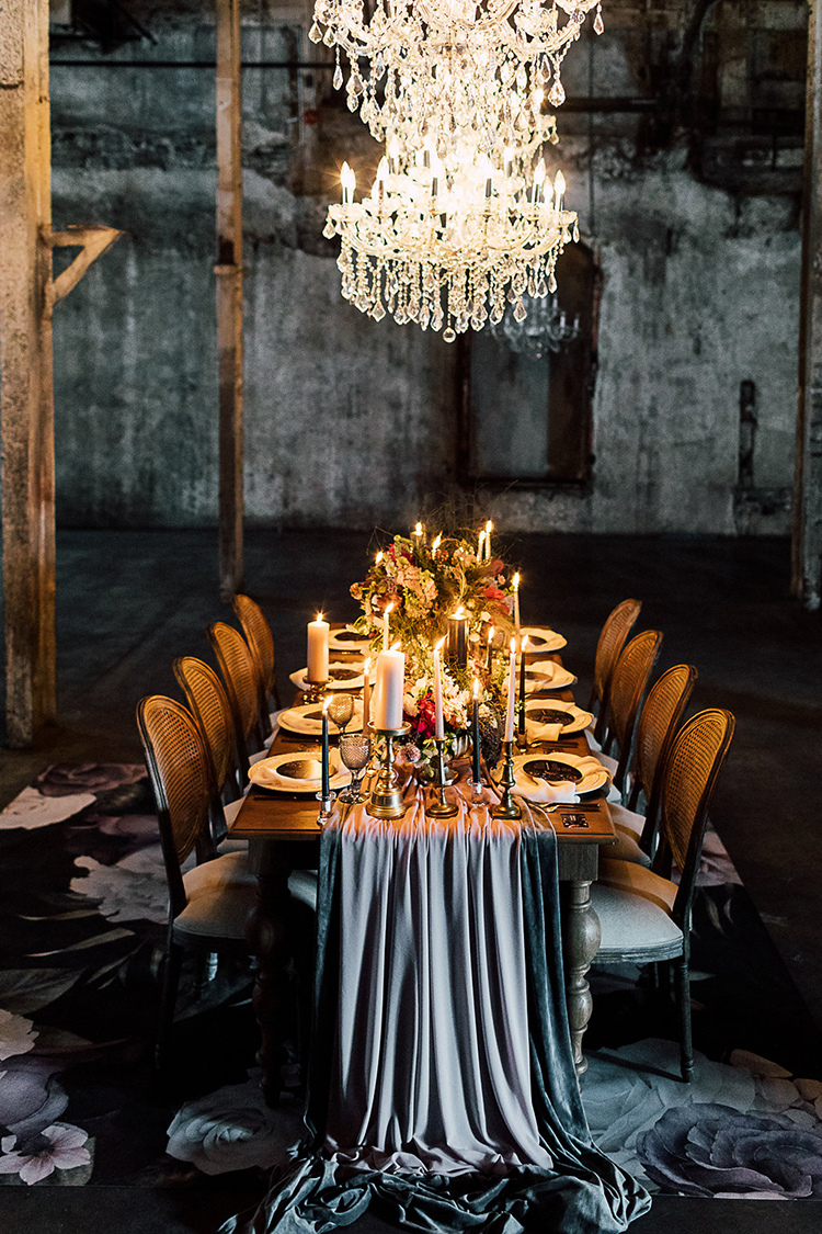 glam industrial weddings - photo by Purple Tree Photography http://ruffledblog.com/dramatic-moody-wedding-inspiration-for-the-modern-bride