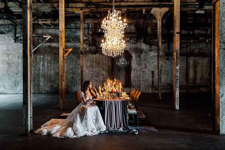 dramatic industrial weddings - photo by Purple Tree Photography http://ruffledblog.com/dramatic-moody-wedding-inspiration-for-the-modern-bride