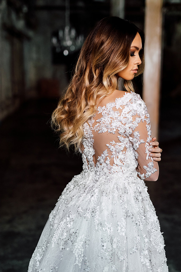 ornate wedding dresses - photo by Purple Tree Photography http://ruffledblog.com/dramatic-moody-wedding-inspiration-for-the-modern-bride