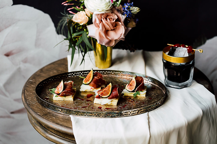 appetizer ideas with figs - photo by Purple Tree Photography http://ruffledblog.com/dramatic-moody-wedding-inspiration-for-the-modern-bride