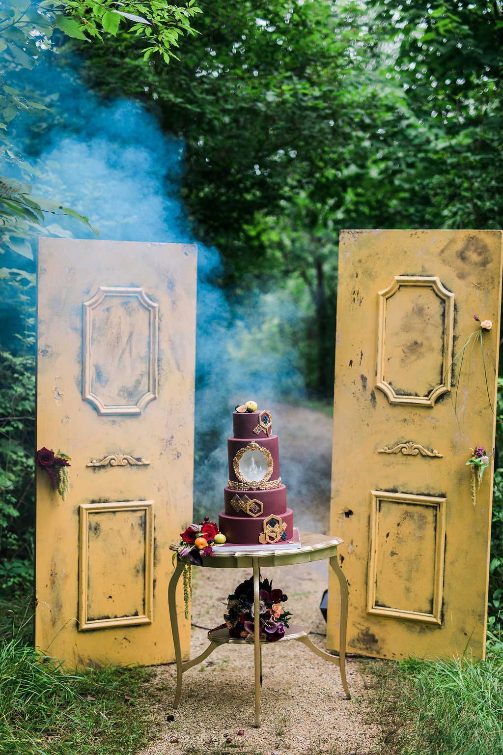 Dramatic Woodland Wedding Inspiration with Burgundy Accents - photo by Katie Ricard Photography http://ruffledblog.com/dramatic-woodland-wedding-inspiration-with-burgundy-accents