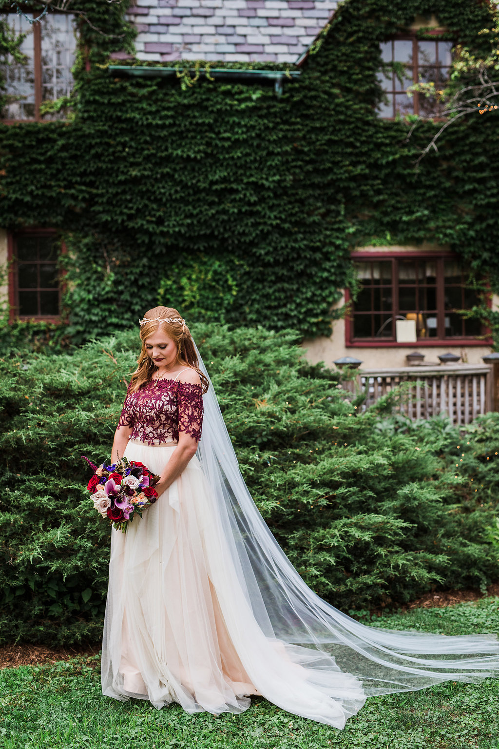 bridal fashion with burgundy accessories - photo by Katie Ricard Photography http://ruffledblog.com/dramatic-woodland-wedding-inspiration-with-burgundy-accents