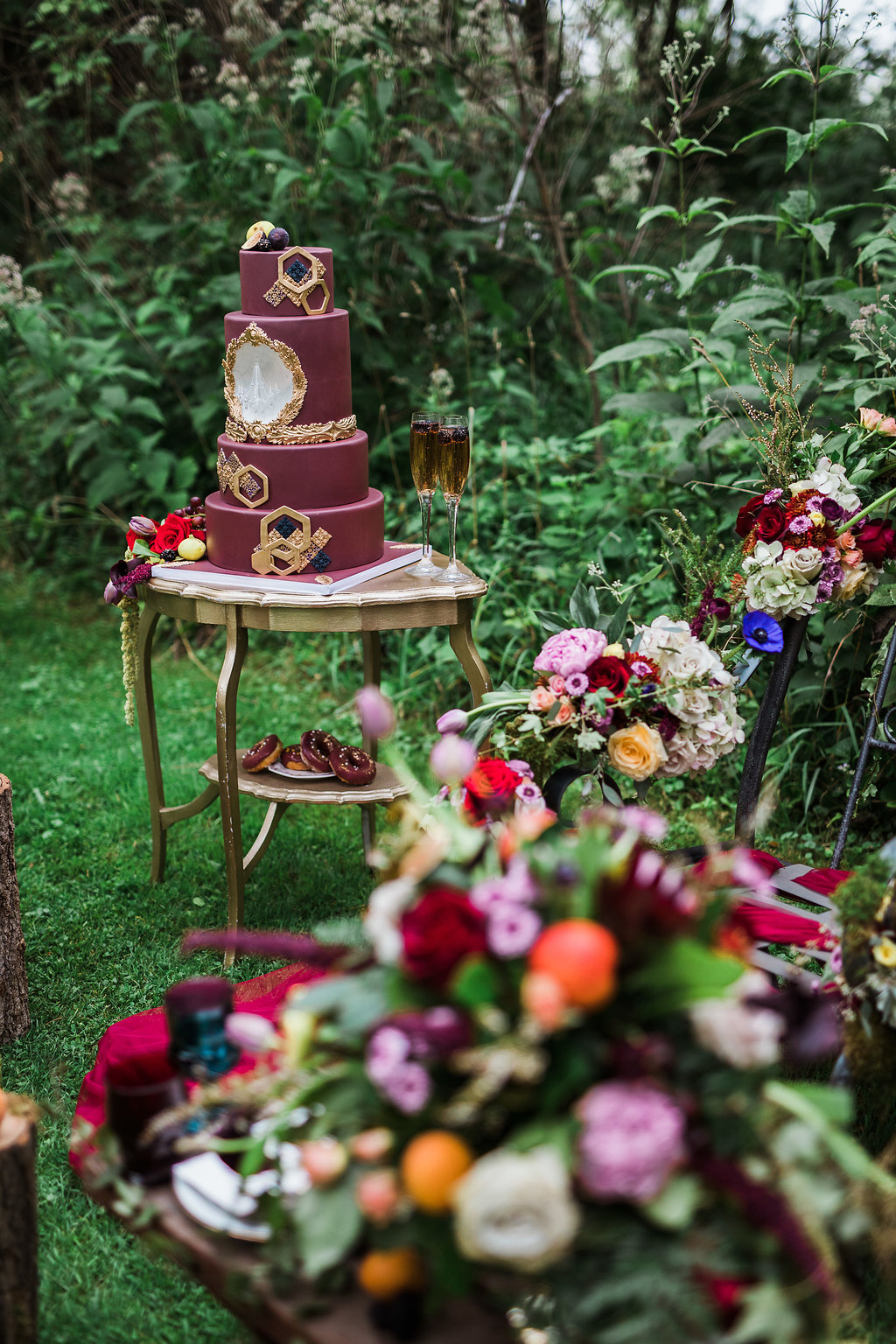 burgundy wedding inspiration - photo by Katie Ricard Photography http://ruffledblog.com/dramatic-woodland-wedding-inspiration-with-burgundy-accents
