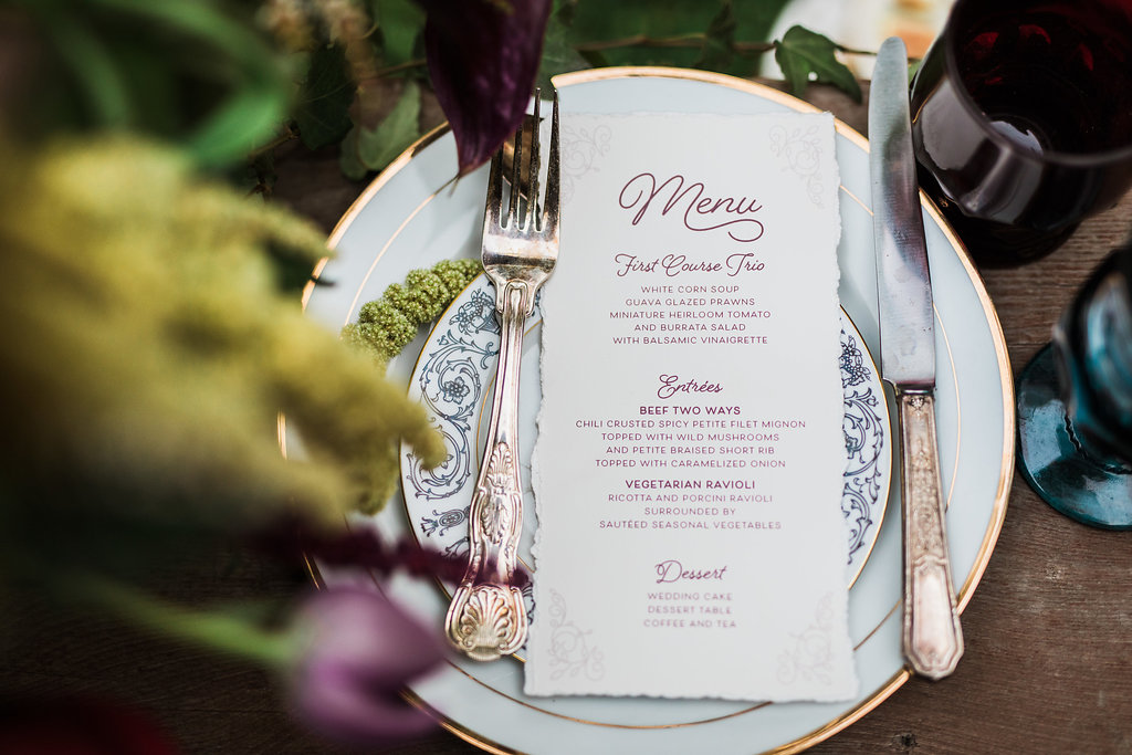 woodland place settings - photo by Katie Ricard Photography https://ruffledblog.com/dramatic-woodland-wedding-inspiration-with-burgundy-accents
