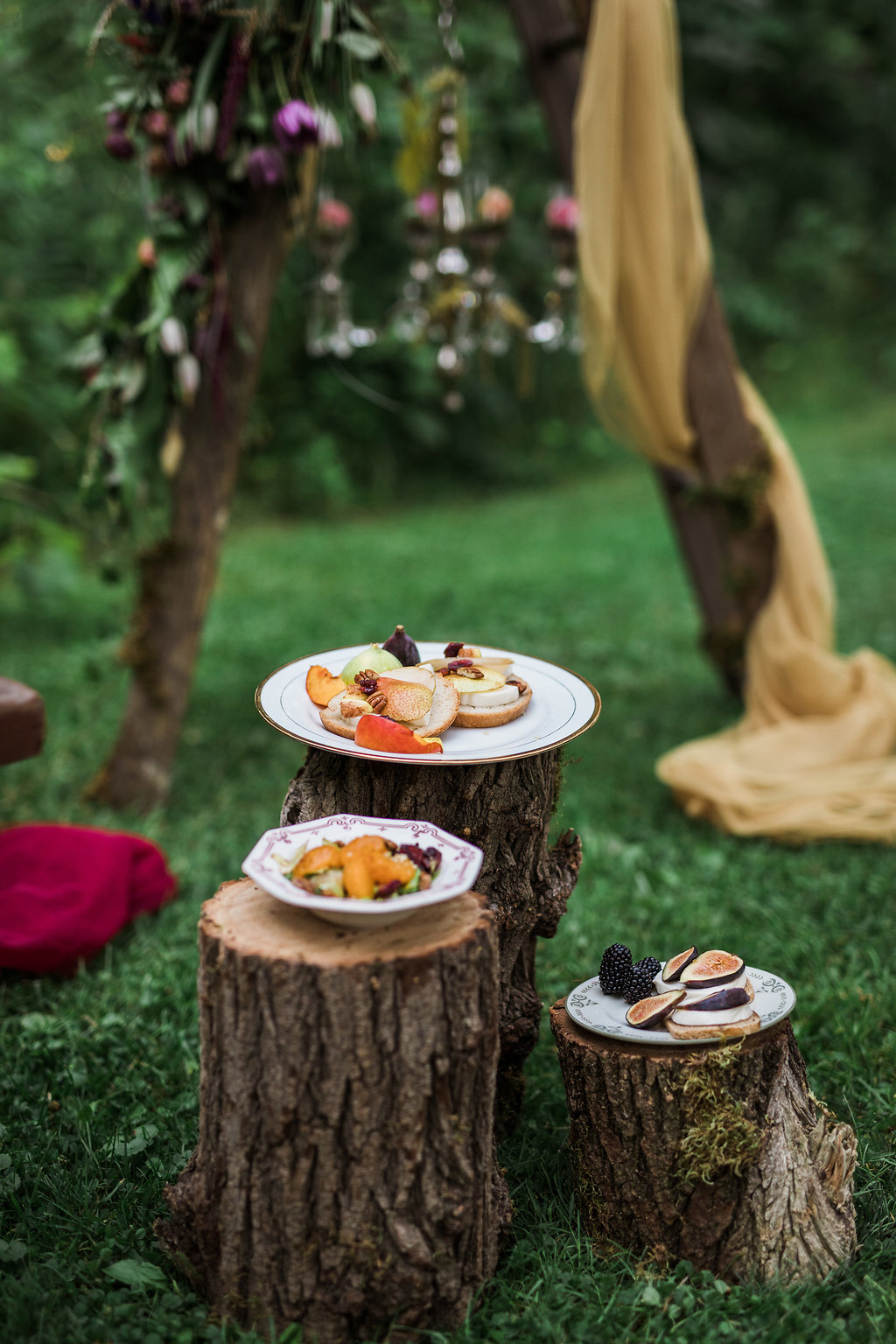 wedding catering - photo by Katie Ricard Photography http://ruffledblog.com/dramatic-woodland-wedding-inspiration-with-burgundy-accents