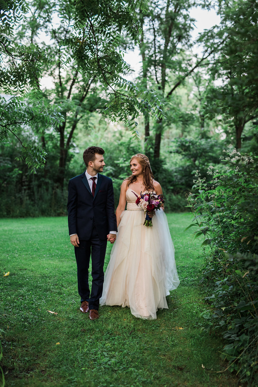 woodland wedding inspiration - photo by Katie Ricard Photography https://ruffledblog.com/dramatic-woodland-wedding-inspiration-with-burgundy-accents