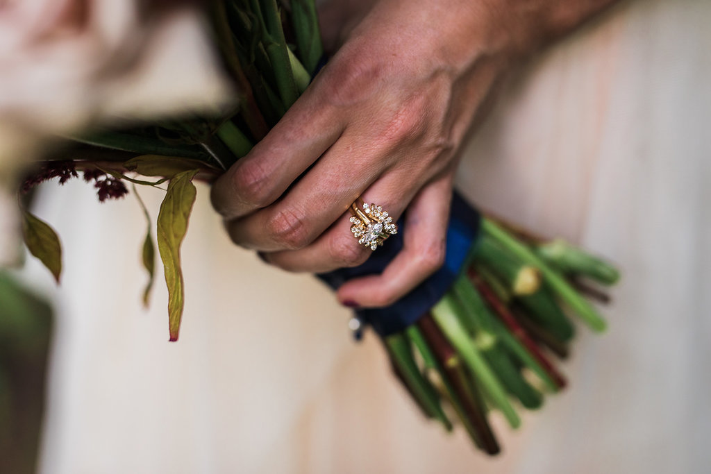 unique engagement rings - photo by Katie Ricard Photography http://ruffledblog.com/dramatic-woodland-wedding-inspiration-with-burgundy-accents