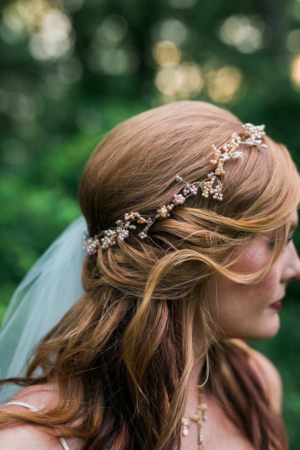embellished wedding hair accessories - photo by Katie Ricard Photography https://ruffledblog.com/dramatic-woodland-wedding-inspiration-with-burgundy-accents