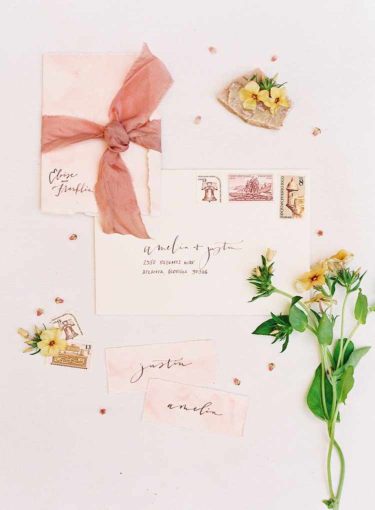 blush pink wedding invitations - photo by Kayla Barker Fine Art Photography https://ruffledblog.com/dreamy-tuscan-inspired-wedding-ideas-with-terracotta