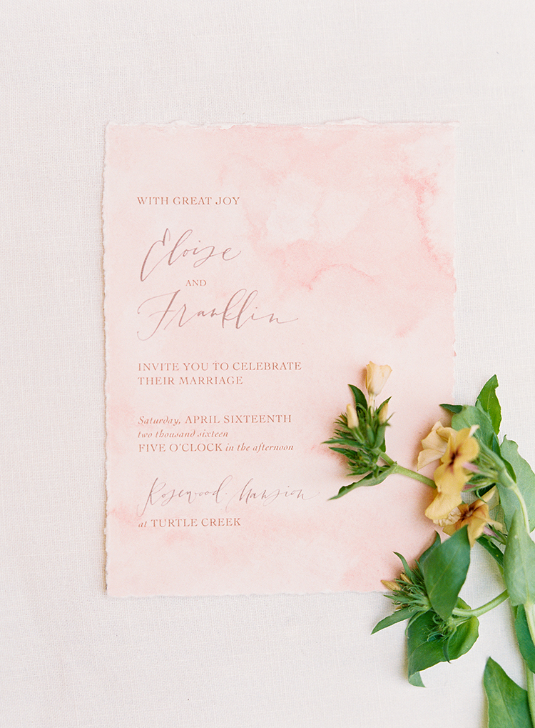 peach watercolor paper goods - photo by Kayla Barker Fine Art Photography http://ruffledblog.com/dreamy-tuscan-inspired-wedding-ideas-with-terracotta