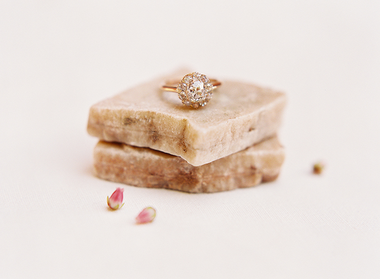 rose gold engagement rings - photo by Kayla Barker Fine Art Photography http://ruffledblog.com/dreamy-tuscan-inspired-wedding-ideas-with-terracotta