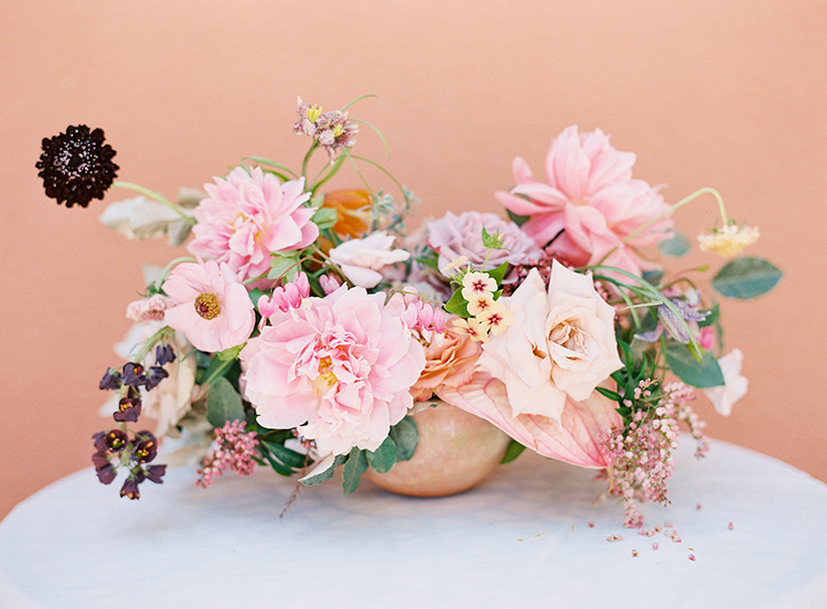 wedding flowers with pink tones - photo by Kayla Barker Fine Art Photography https://ruffledblog.com/dreamy-tuscan-inspired-wedding-ideas-with-terracotta