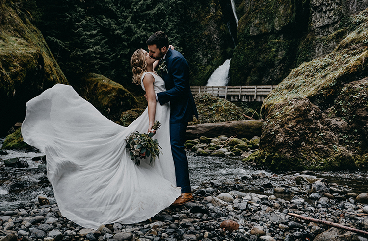 Dreamy Waterfall Elopement at Wahclella Falls - photo by Minerva House Photography https://ruffledblog.com/dreamy-waterfall-elopement-at-wahclella-falls