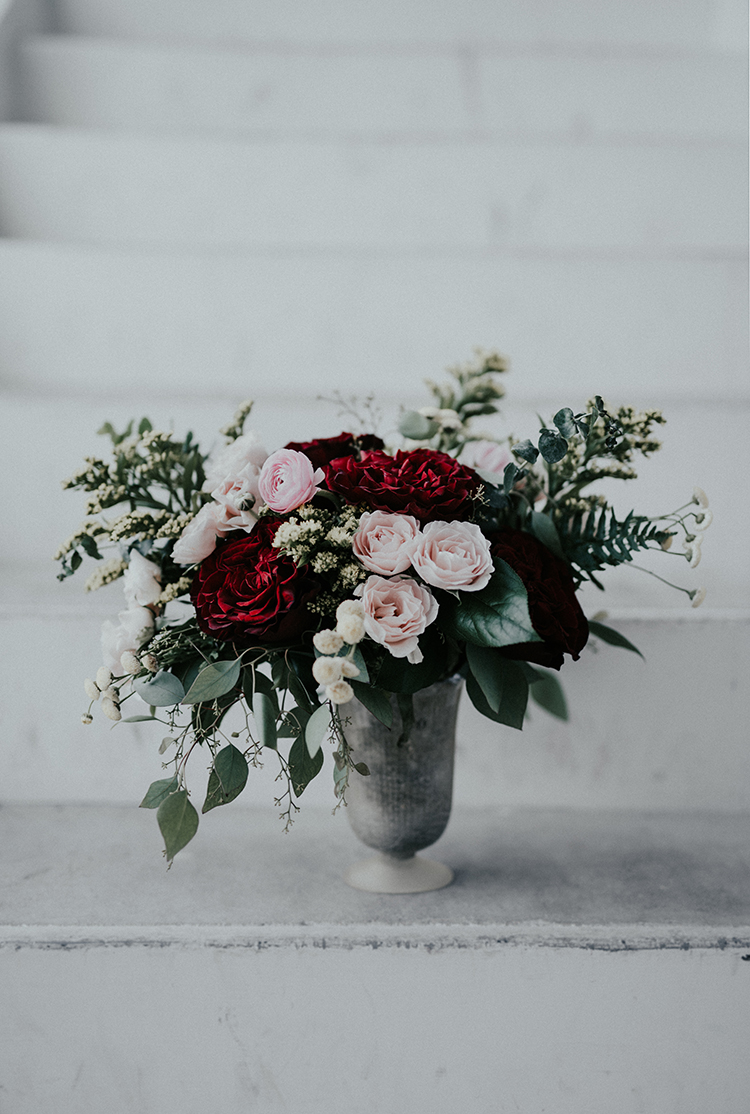 romantic pink and red centerpieces - photo by Minerva House Photography https://ruffledblog.com/dreamy-waterfall-elopement-at-wahclella-falls