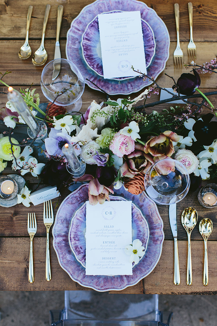 flay lay tablescapes with purple - photo by Angela Zion Photography https://ruffledblog.com/dusty-toned-wedding-ideas-inspired-by-the-baltic-sea