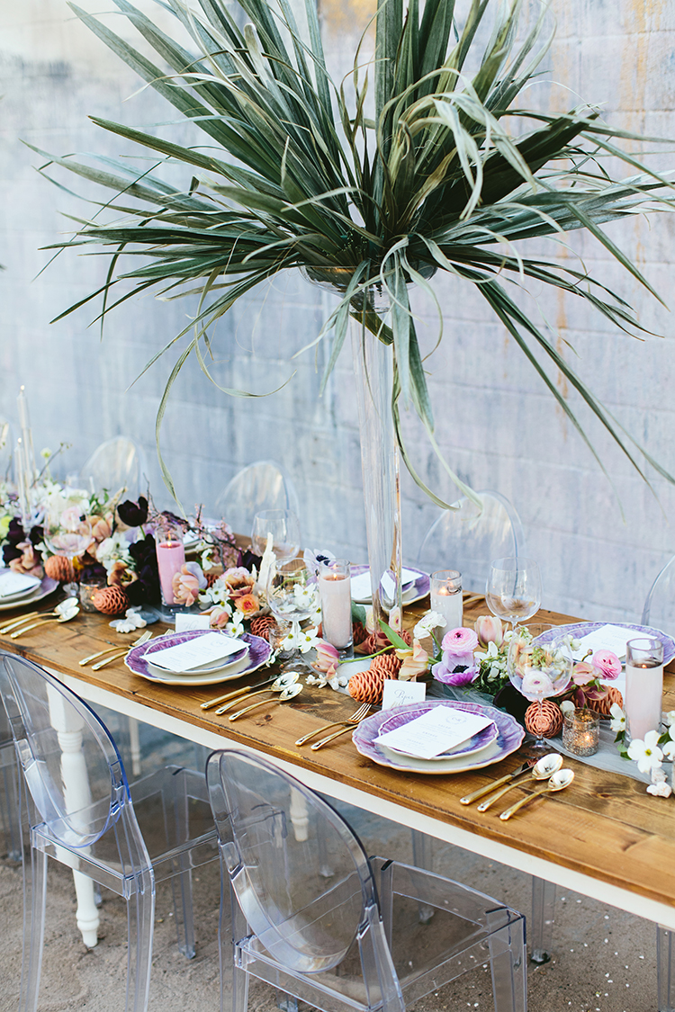 tropical inspired tablescapes - photo by Angela Zion Photography https://ruffledblog.com/dusty-toned-wedding-ideas-inspired-by-the-baltic-sea