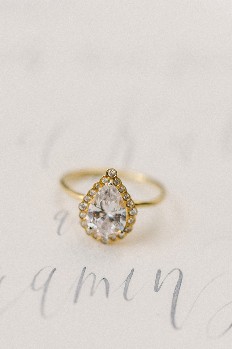 pear shaped engagement rings - photo by Elizabeth Fogarty https://ruffledblog.com/early-summer-wedding-inspiration-with-floral-displays