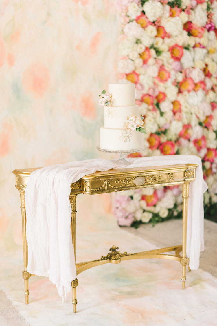 cake tables - photo by Elizabeth Fogarty http://ruffledblog.com/early-summer-wedding-inspiration-with-floral-displays