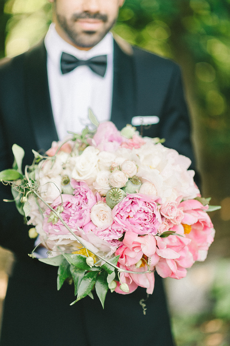 pink wedding bouquets - photo by Elizabeth Fogarty http://ruffledblog.com/early-summer-wedding-inspiration-with-floral-displays