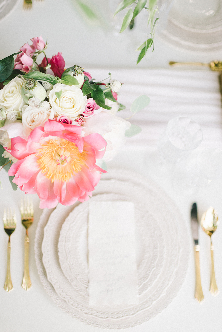 romantic place settings - photo by Elizabeth Fogarty http://ruffledblog.com/early-summer-wedding-inspiration-with-floral-displays