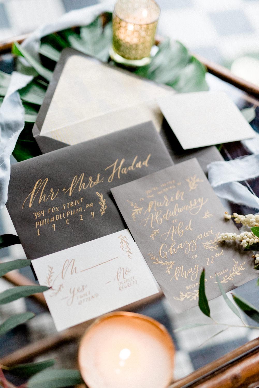 grey wedding invitations - photo by Haley Richter Photo http://ruffledblog.com/east-meets-west-romantic-wedding-inspiration