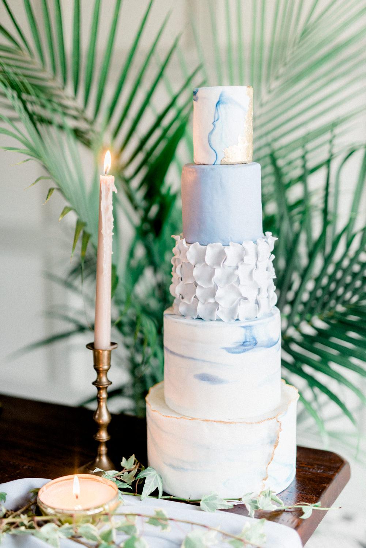 blue unique wedding cakes - photo by Haley Richter Photo http://ruffledblog.com/east-meets-west-romantic-wedding-inspiration