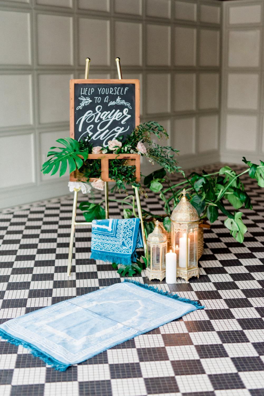 prayer rug station - photo by Haley Richter Photo http://ruffledblog.com/east-meets-west-romantic-wedding-inspiration