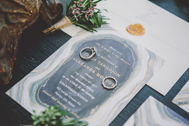 modern geode wedding invitations - photo by Gina and Ryan Photography https://ruffledblog.com/eclectic-bohemian-wedding-at-calamigos-ranch