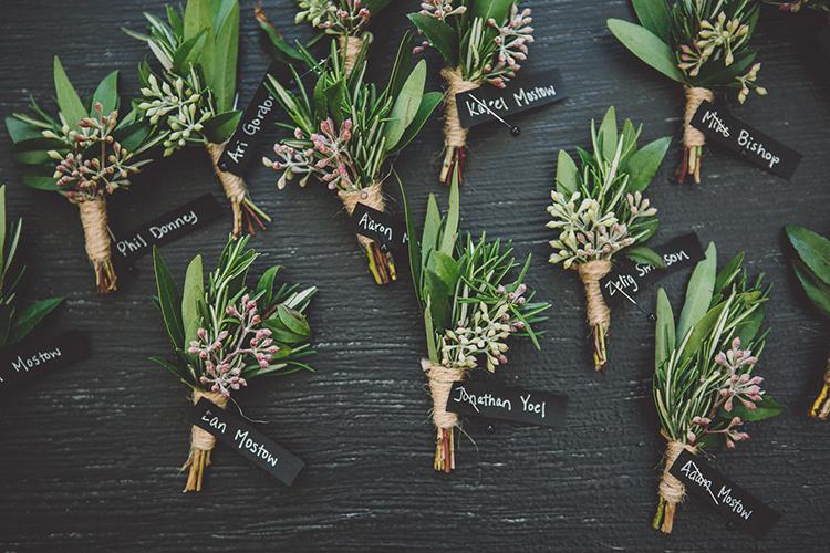 greenery boutonnieres - photo by Gina and Ryan Photography https://ruffledblog.com/eclectic-bohemian-wedding-at-calamigos-ranch