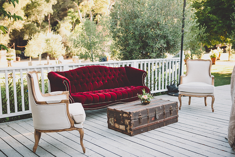 wedding lounge areas - photo by Gina and Ryan Photography http://ruffledblog.com/eclectic-bohemian-wedding-at-calamigos-ranch