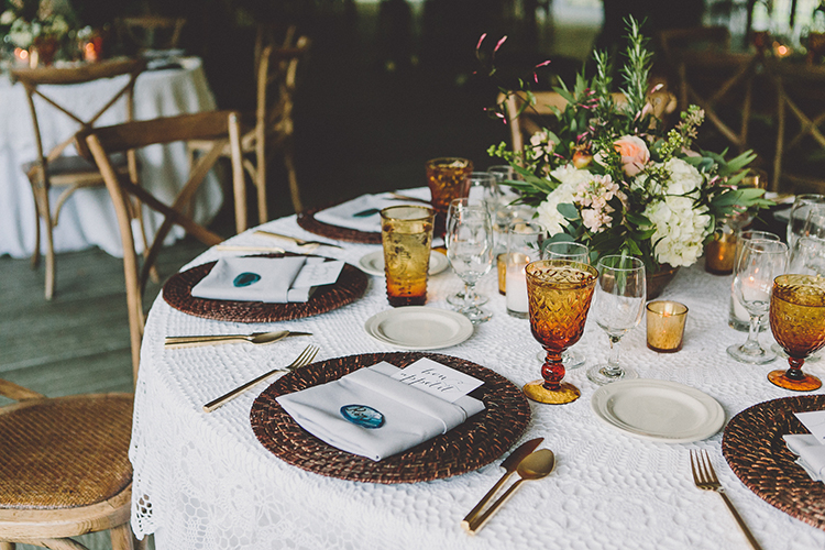 wedding tables - photo by Gina and Ryan Photography http://ruffledblog.com/eclectic-bohemian-wedding-at-calamigos-ranch