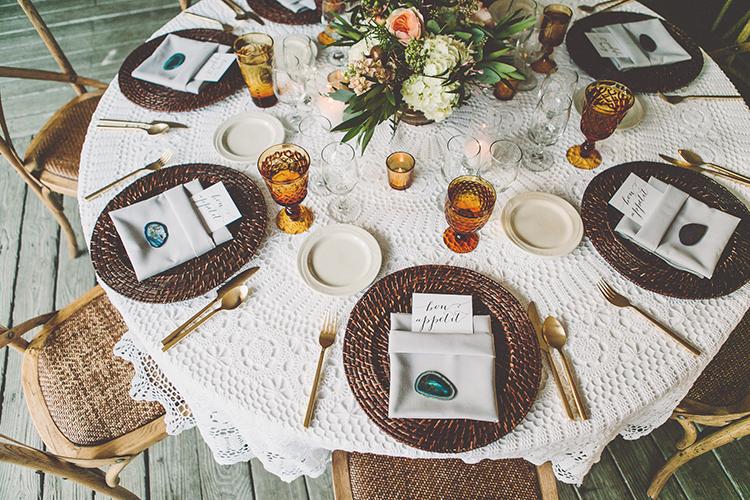 wedding tablescapes - photo by Gina and Ryan Photography http://ruffledblog.com/eclectic-bohemian-wedding-at-calamigos-ranch
